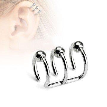 Fake Helix Piercing mit drei Ringen