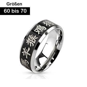 Edelstahl Ring Chinesische Zeichen 60-70 mm