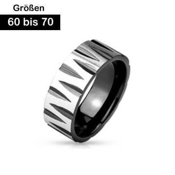 Edelstahl Ring schwarz 60-70 mm