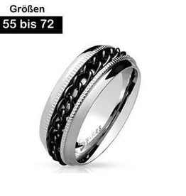 Edelstahl Ring mit schwarzer Kette