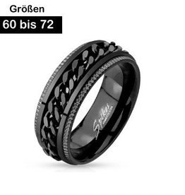 Edelstahl Ring schwarz mit Kette