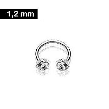 1,2 mm Hufeisen Piercing - kristall