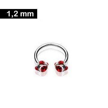 1,2 mm Hufeisenring Piercing - rot
