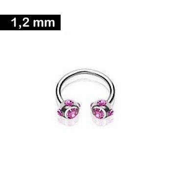 1,2 mm Hufeisen Piercing mit pinken Zirkonia