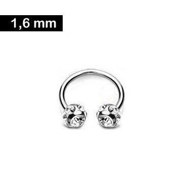 1,6mm Brustpiercing Ring kristall
