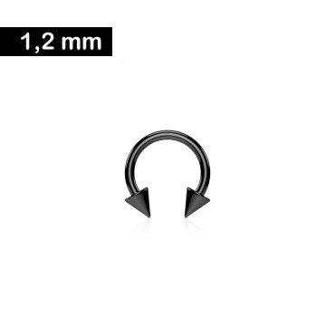 1,2 mm schwarzer Hufeisengring