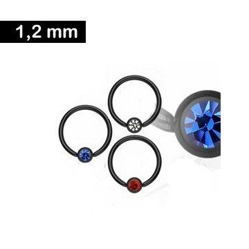 1,2 mm schwarzer BCR-Ring mit Glitzerstein