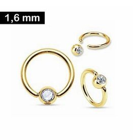 1,6 mm Piercingring Gold