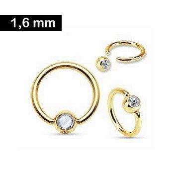 Super 1,6 mm Piercingring gold mit Kristallstein - Piercing-Trend.com &LQ_98