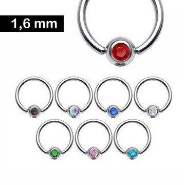 BCR Ring mit Glitzerstein - 8 Farben