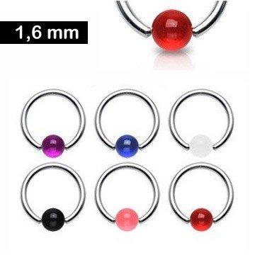UV-Ball Piercing Ring 1,6 mm - 6 Farben