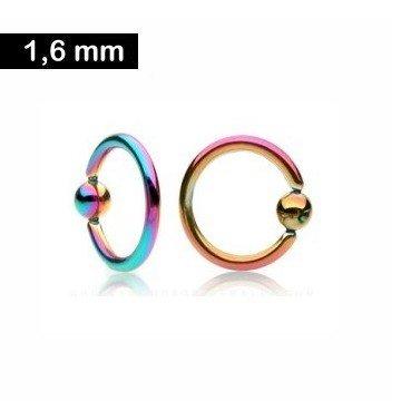 1,6 mm Piercingring - regenbogenfarben