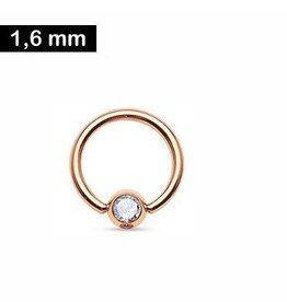 1,6 x 10 mm Piercingring - Kristall