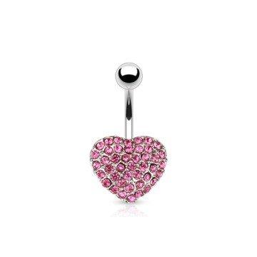 Bauchnabelpiercing  Herz mit pinken Steinchen
