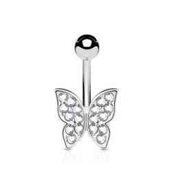 Kristall Bauchnabelpiercing Schmetterling