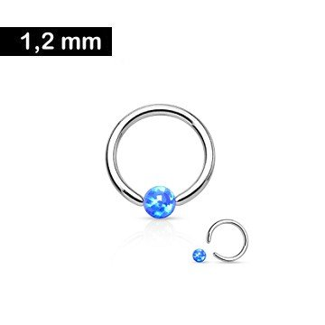 1,2mm Piercing Ring mit Opal Kugel blau