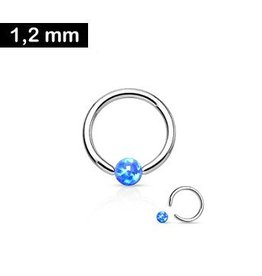 1,2 x 8 mm Piercingring Opal