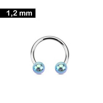 1,2mm Hufeisen Ring Blau