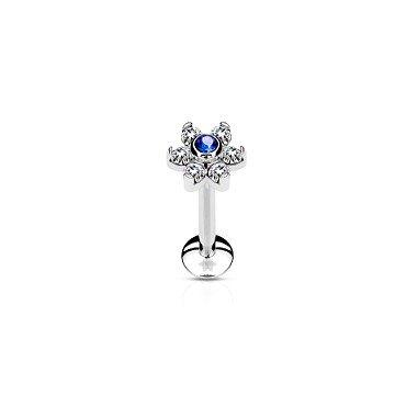 Tragus Piercing Blume Blau-Kristall
