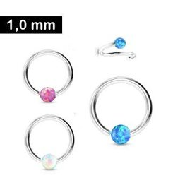 1,0 mm Piercingring Synthetic Opal