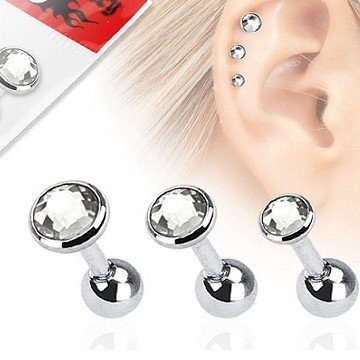 1,2mm Flat Piercing - 3 er Set Angebot Kristall