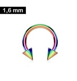 1,6mm Hufeisen Ring Regenbogen