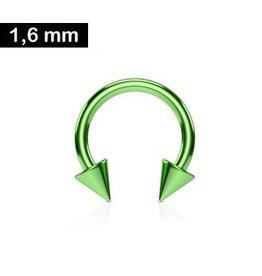 1,6mm Hufeisen Ring Grün eloxiert