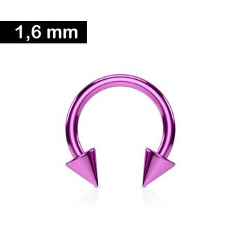 1,6 mm Piercing Ring mit 2 Kegeln - Pink