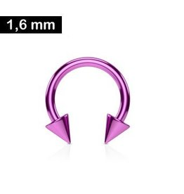 1,6mm Piercing Ring mit zwei Kegeln