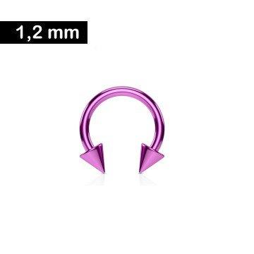 1,2 mm Piercing Ring eloxiert mit 2 Kegeln - Pink