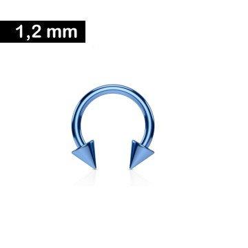 1,2 mm Piercingring eloxiert mit 2 Kegeln - hellblau