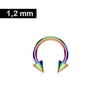 1,2 mm Hufeisenring eloxiert mit 2 Spitzen