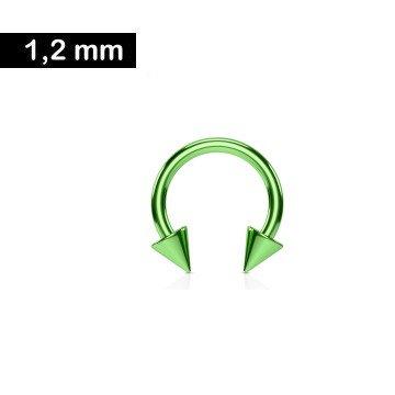 1,2 mm grüner Hufeisenring eloxiert mit 2 Spitzen