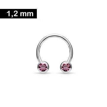 1,2 mm Hufeisen Ring mit 2 Kugeln - Pink