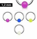 BCR Piercing Ring 1,2 mm mit UV-Ball - 5 Farben