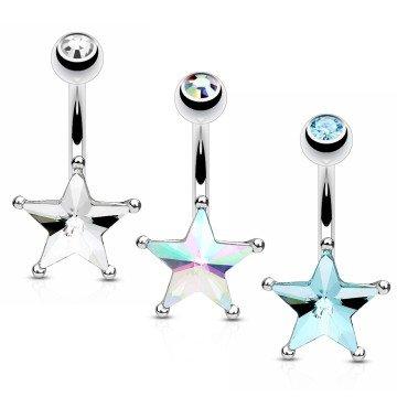 Bauchnabelpiercing Stern - 3 Farben wählbar
