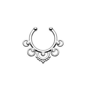 Fake Septum Piercing mit 5 kleinen Zirkoniasteine