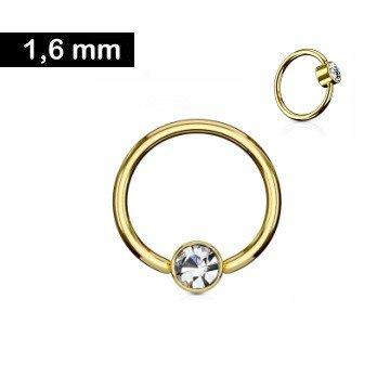 1,6 mm goldfärbiger Piercingring  mit Zirkoniastein