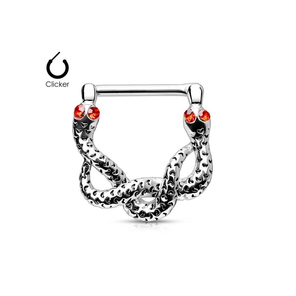 Nippel Clicker Schlange mit roten Stein