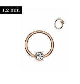 Piercingring rosegold mit kristall Stein