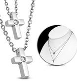 Halskette aus Edelstahl mit 2 Kreuzen