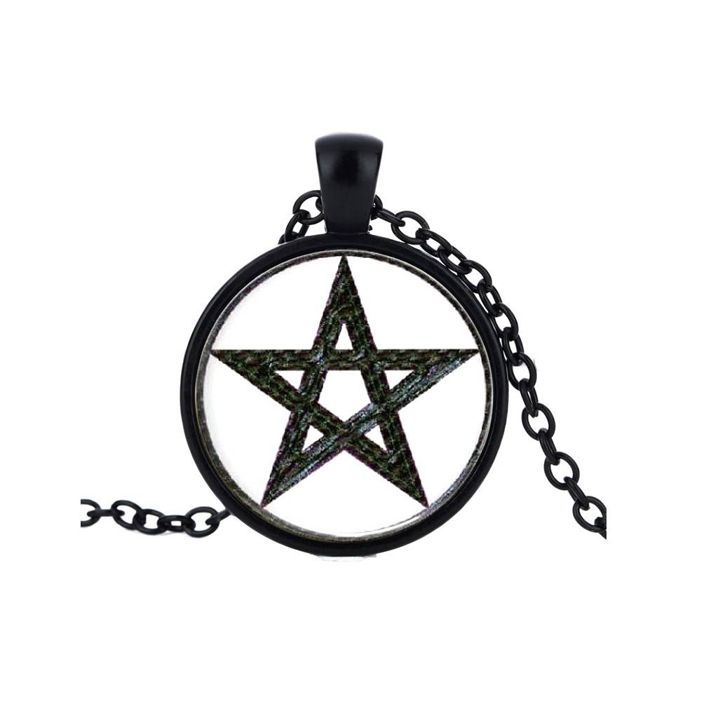 Schwarzer Pentagramm Anhänger mit Kette
