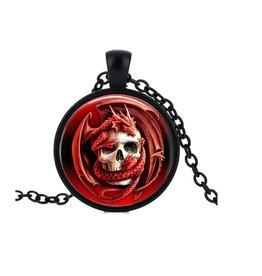 Schwarze Halskette Totenkopf