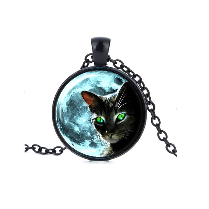 Schwarze Halskette Vollmond mit Katze
