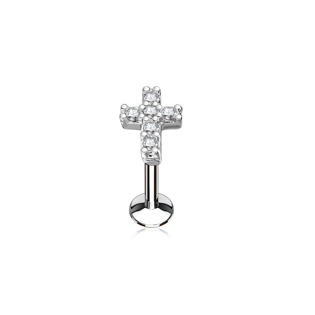 6 mm Tragus Schmuck mit kristall Kreuz