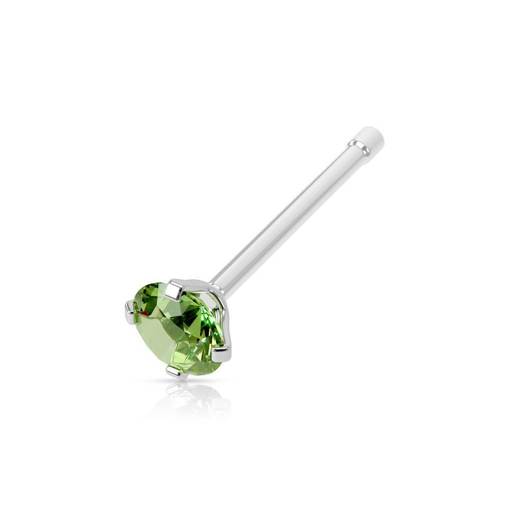 Nasenstecker Piercing mit grünen Stein