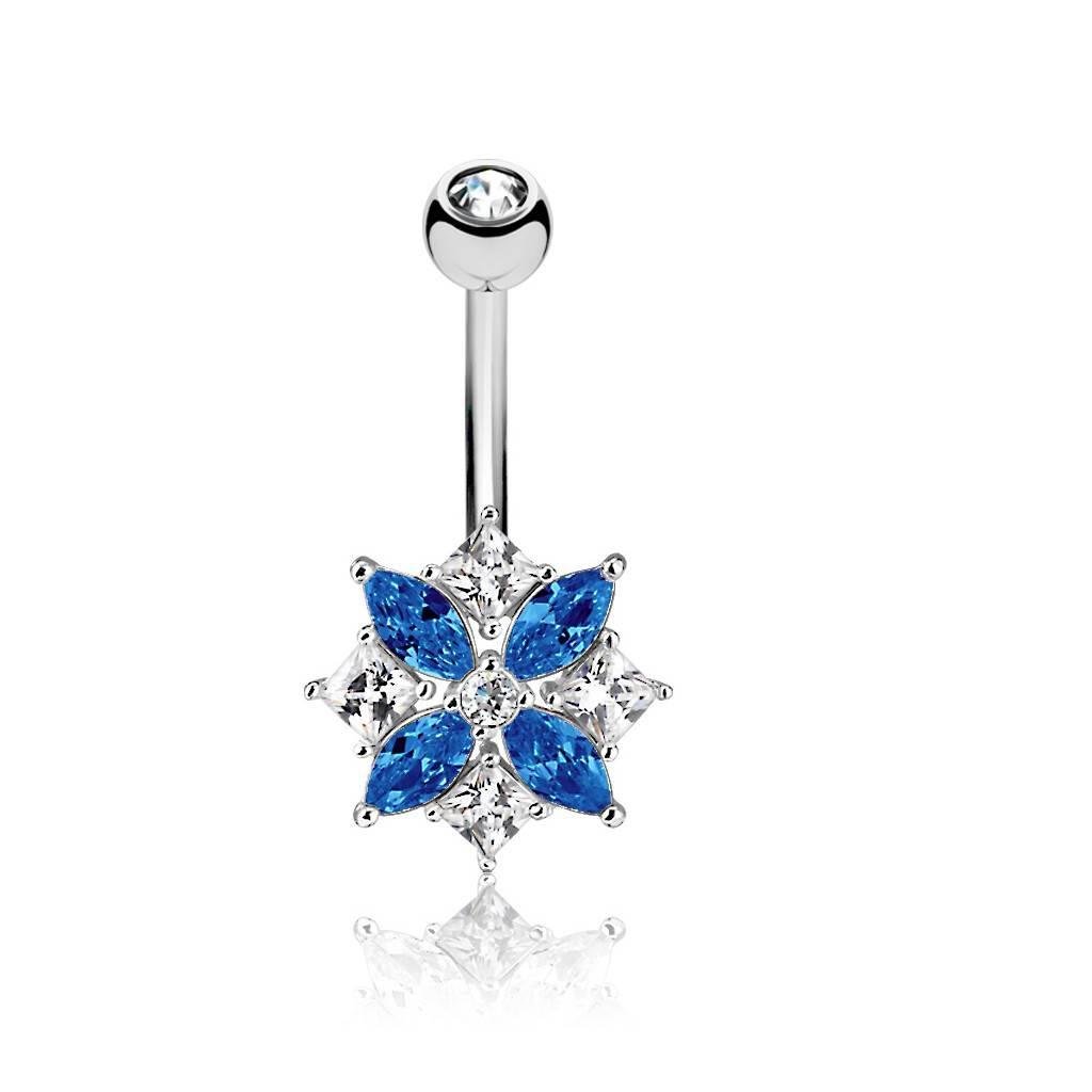 Bauchnabelpiercing Blume Blau-Kristall