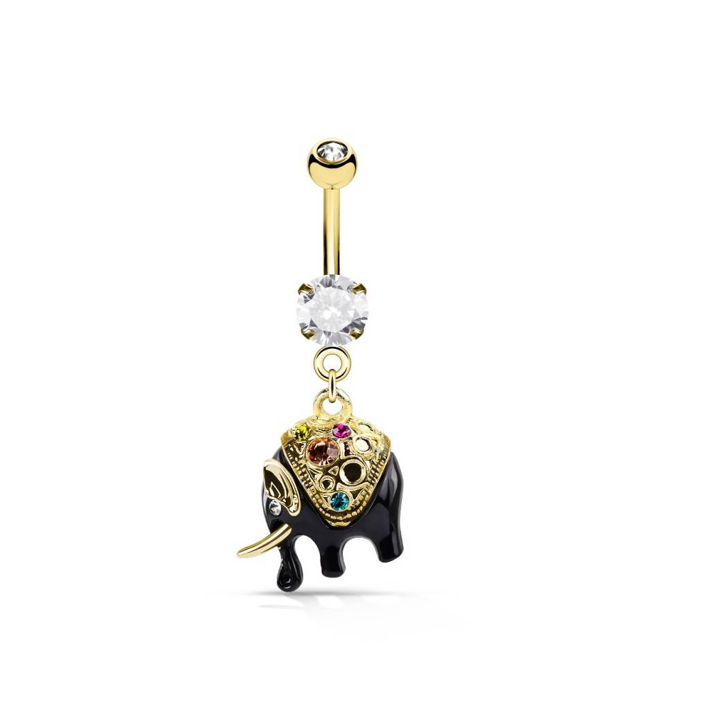 Bauchnabelpiercing Elefant goldfärbig