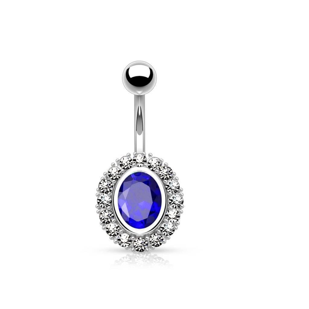 Bauchnabelpiercing mit ovalen blauen Stein