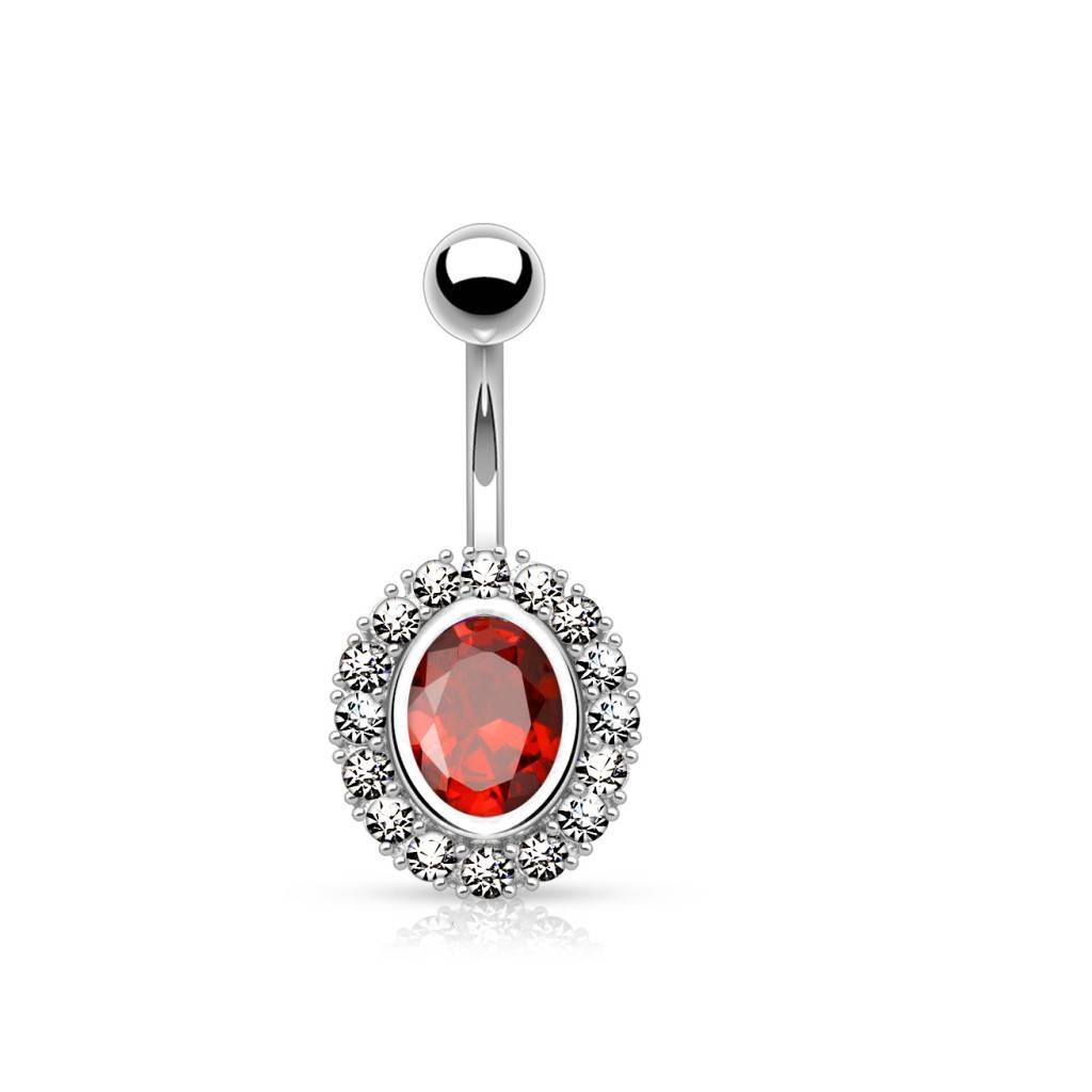 Bauchnabelpiercing mit ovalen roten Stein